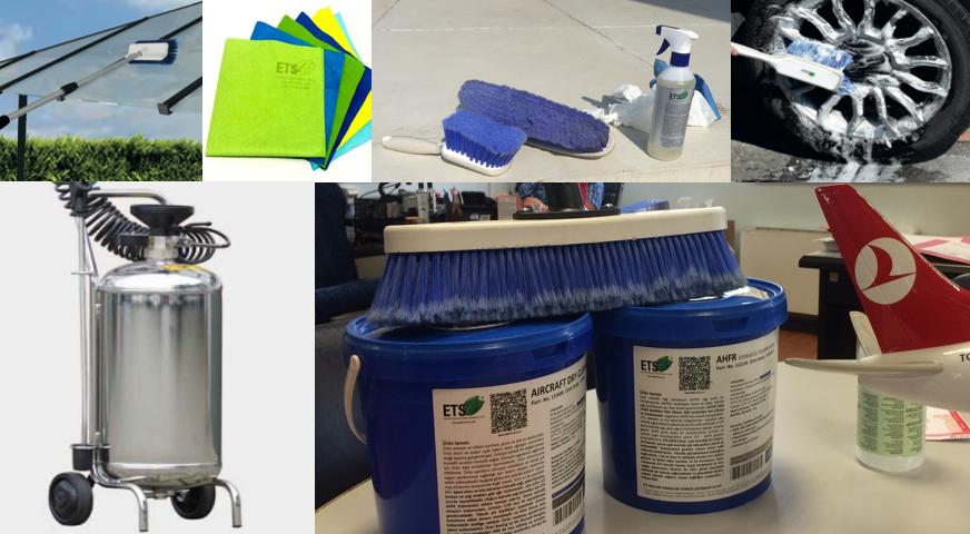 Temizlik ekipmanları,ürün püskürtücü aparatlar, kompozit silme fırçaları, uçak yıkama makinesi, temizlik bezleri